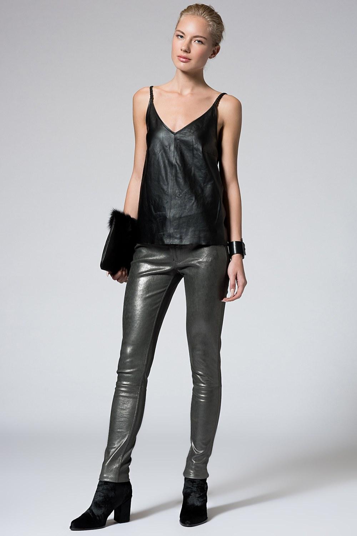 Metal Rengi Deri Pantolon